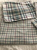 Dunelm Brushed Cotton Striped Double Duvet Set Reversible Purple Green Beige