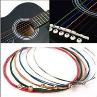 1 Set 6pcs Rainbow Colorful Color Strings For Acoustic Guitar Hot Accessory
