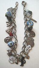 VINTAGE German Deco 800 Silver Enamel LUCKY CHARM Souvenir Bracelet LOADED