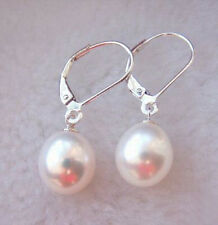 10 mm White Shell Pearl White Gold Plated Clasp Hook Earrings