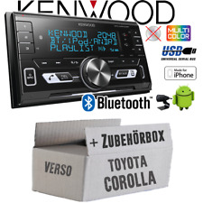 Kenwood Autoradio für Toyota Corolla Verso silber 2-DIN/Bluetooth/USB Einbauset