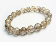 Natural Silver Rutilated Quartz Crystal Woman Round Beads Bracelet 11mm AAAA