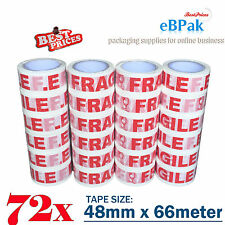 72 Rolls 66M x 48mm WHITE RED Fragile Tape 66 meter Packaging Packing Tape 45U