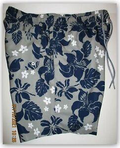 "Speedo Grey floral leaf 7"" Swim Short trunks elastic & tie 3 pocket inner brief"