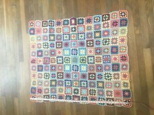 Vintage Crotchet Retro 70's Wool Mix Blanket Throw Baby Picnic Bed Cover