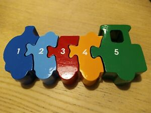 Wooden Number Puzzle Train