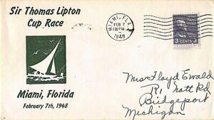 STAMPS - USA COMMEMORATIVE COVER - ST THOMAS LIPTON CUP RACE - 1948 - MIAMI