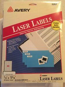 """2240 Laser Ink Jet Labels Return Address  1/2"""" X 1 3/4"""" 29 Sheets White And Grey"""