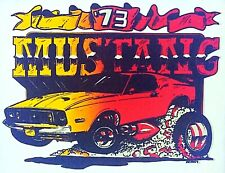 Original Vintage 1973 Ford Mustang Iron On Transfer U.S. Muscle Car