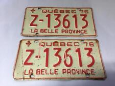 QUEBEC LICENSE PLATE 1976 Z (RENTAL CAR) PAIR SET #Z-13613