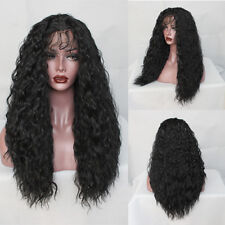 Glueless Water Wave Synthetic Fiber Lace Front Wig Soft Curly Pre Plucked 20''