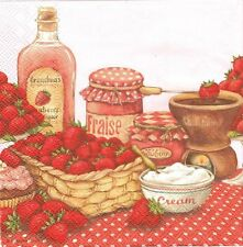2 Serviettes papier Fraises Confiture Decoupage Paper Napkins Strawberry Flavor