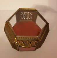 Filigree Ormolu Trinket Box Beveled Glass Hexagon Jewelry EXC