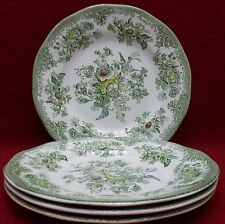 "WEDGWOOD china KENT Green/Multicolor pattern Set of 4 Dessert Plates  7"" crazed"