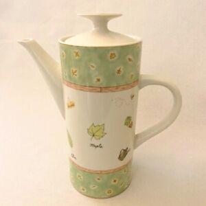 Stoneware Country Garden Theme Tea or Coffee Pot