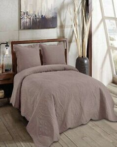 SARAI LEAVES COFFEE EMBROIDERED BEDSPREAD COVERLET SET 3 PCS QUEEN SIZE