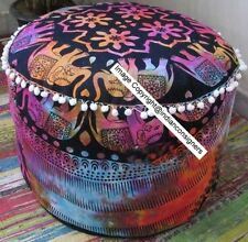 Elephant Mandala Multi Design Cotton Handmade Textile Poufs Ottoman Stool Cover