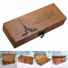 Wooden Pencil Case Box Vintage Antique Storage Holder Wood Organizer Retro Brown