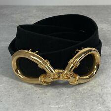 Vintage 1970s Mimi Di N 1977 Gold Buckle Black Suede Velvet Belt Adjustable Size