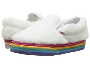 Vans Classic Slip On (Shearling Rainbow) White Toddlers 7.5
