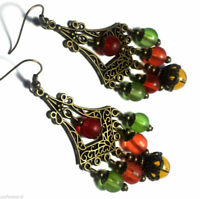Colourful Bronze Earrings Chandelier Drop Dangle Antique Vintage Style Pierced