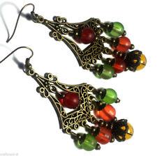 Colourful Bronze Earrings Chandelier Drop Dangle Antique Vintage Style Pierced