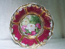 Germany Pink Rose Raised Gold Porcelain Bowl Hand Painted