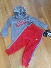 Nike New Nwt Sweat Suit Outfit Infant Boy 18 Months Red Gray Dri Fit