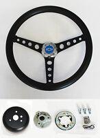 "1964-1965 Chevelle El Camino Chevy Pick Up Black on Black Steering Wheel 14 1/2"""