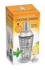 Cocktail Shaker Glass,Cap Bar Mixer,Stainless Steel collar,400ml Recipe Gift Set