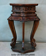 "28.4"" Old Chinese Huanghuali Wood Dynasty Flower stand Shelf Antique Furniture"