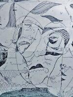 "Volker Hueller (*1976) Farbradierung 2010:   ""ME MYSELF AND I""  / SELBSTPORTRAIT"