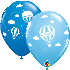 "Asstorted Pale And Dark Blue Boys Hot Air Balloon Clouds 11"" Latex Balloons 25pk"