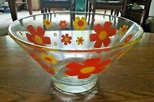 Retro Serving Bowl With Bright Yellow & Orange Flowers