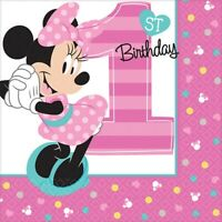 BABY MINNIE MOUSE FUN TO BE ONE BEVERAGE NAPKINS PACK OF 16 PARTY FAVOURS SUP...