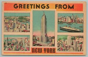 New York City~Empire State Building~1940s Linen Postcard