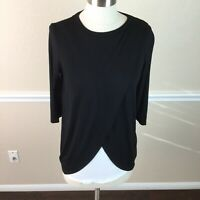 ASOS Womens Top Stretch Black Layered 3/4 Sleeve Wrap Front Size 4