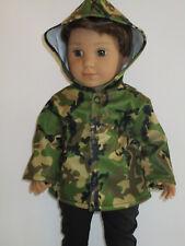 "Cammo Rain Jacket for 18"" Doll Clothes Logan American Girl"