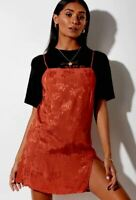 MOTEL ROCKS Datista Dress in Satin Rose Copper (mr96)
