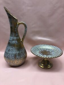 Mid Century Stangl Pottery Pitcher/Ewer + Footed Dish Gold Teal Blue 2 Pcs