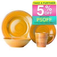 Casa Domani Portofino 16 Piece Dinner/Dining Kitchen Bowls/Mug/Plate Mustard Set