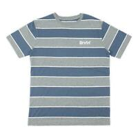 Brixton Mens Hilt Print Knit T-Shirt Heather Grey/Washed Navy M New