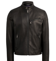 $3,495 Ralph Lauren Purple Label Randall Black Lambskin Leather Biker Jacket New