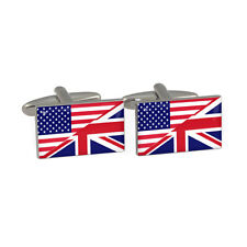 USA & Union Jack Flag Cufflinks Boxed American British UK English Britain NEW