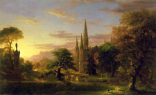 Oil painting Thomas cole - The Return sunset landscape & huge building churches