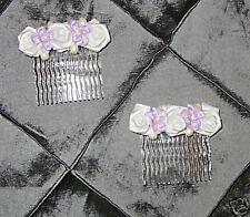 Bride Bridesmaid Flowergirl LILAC wedding hair combs