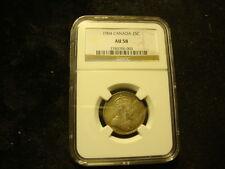 1904 NGC AU-58 Canada Twenty Five Cents Eight Pearls Looks Full BU RARE***SLABZ