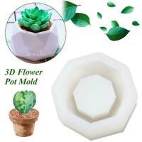 Flower Pot Silicone Molds Garden Planter Cement Concrete Vase Soap Moulds K3D0
