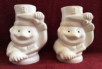"2 Vintage Benihana white ceramic Tiki Mugs Teppanyaki Chef 6 3/4"" Tall"