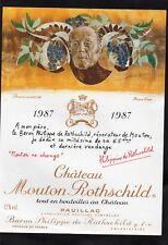 PAUILLAC 1EGCC ETIQUETTE CHATEAU MOUTON  ROTHSCHILD 1987 1.5 L DECOREE§07/03/18§